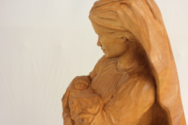Religious sculpture commissioned Wood carving of Mary and Jesus by Radha Pedersen
