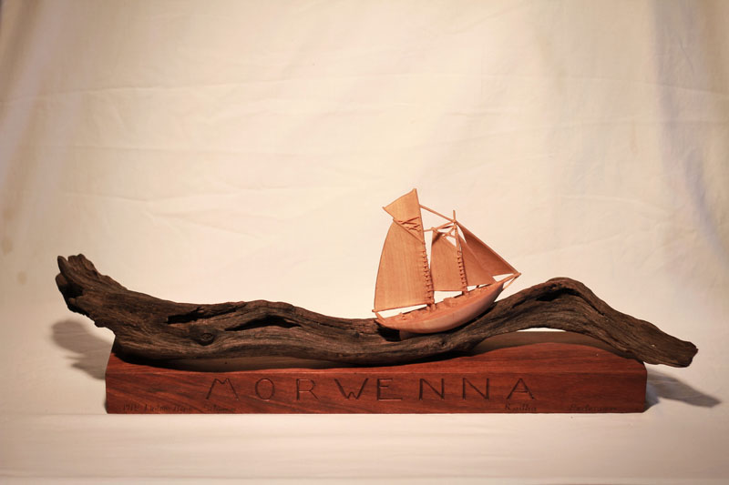 Marine art commissions by Radha Pedersen woodcarving yacht sculpture